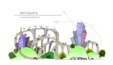 web design bridge: city background with a lots of roads and traffic junction