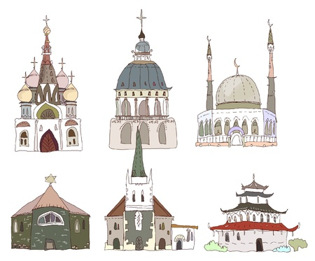 different type of churches (cathedrals) Vector