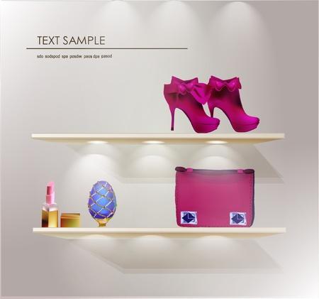 tienda zapatos: dama Vectores