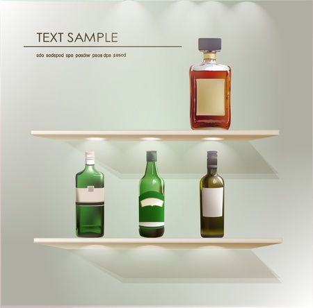 wine collection on the shelves Vector
