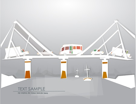 Bridge and river White city collection Vector