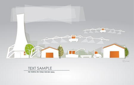 Farm background 'White city' collection Vector