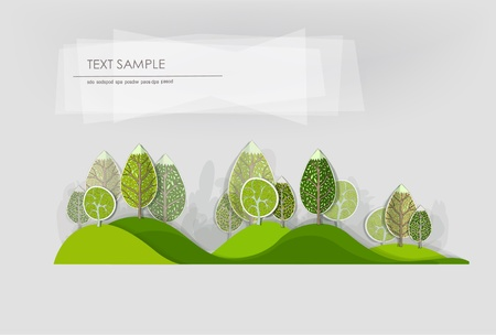 organic plants: hills and forest  Illustration