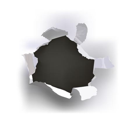갈라진 금: 찢어진 종이 구멍 일러스트