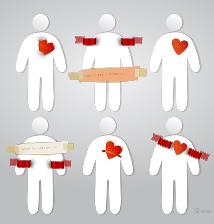 paper stickers Valentines people Vector