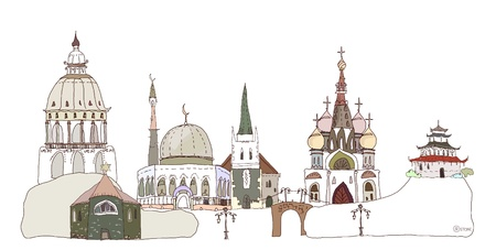 minarets: All religions background