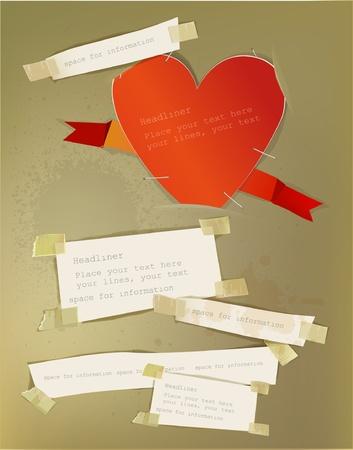 straight pin: Valentine paper set Illustration