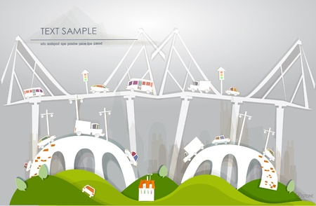 Bridges and traffic and White city collection Vector