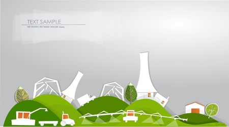 farm on the hills background and White city collection Vector