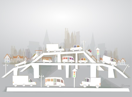 roads and traffic of modern city  White city collection Vector