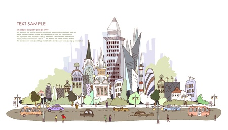 car show: modern city illustration