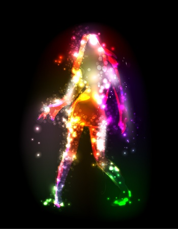 girl made of abstract light Vector
