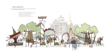 Thema park met een veel attracties Vector Illustratie