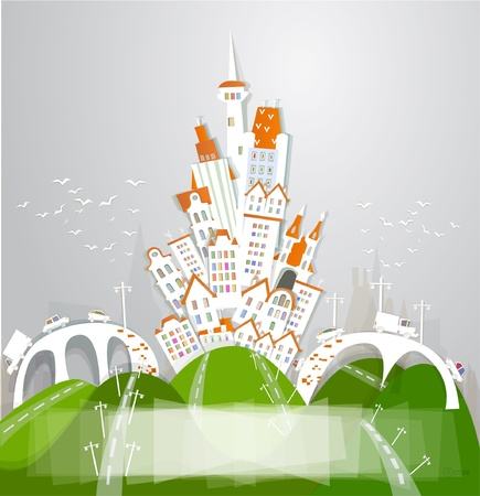 White city, bridges and roads Vector