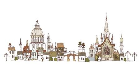 web design bridge: old city background