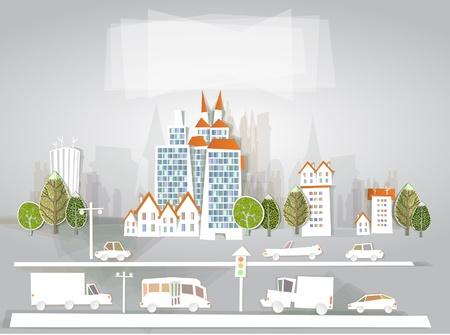 하부 구조: 도시 배경 흰색 도시 수집 일러스트