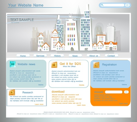 home school:  White city  collection web template Illustration