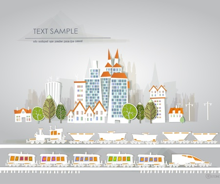 city and railway White city collection Vector
