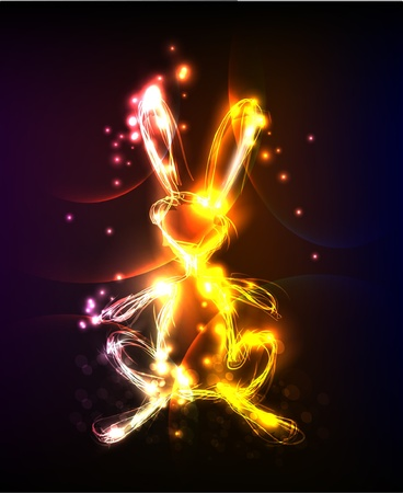neon bunny Vector