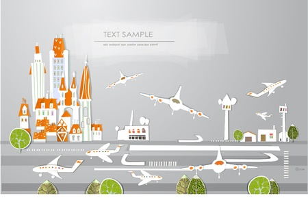 airport security: city airport White city collection Illustration