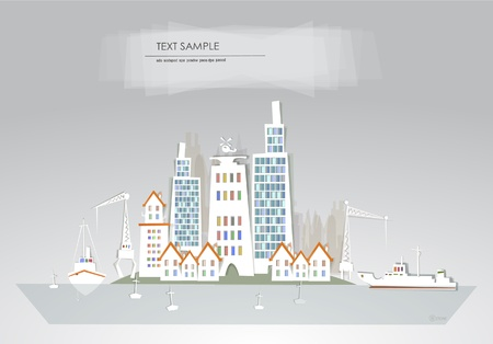 city and port White city collection Vector