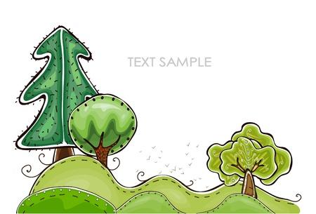작은 숲: 추상 숲 행복한 세계 컬렉션 일러스트