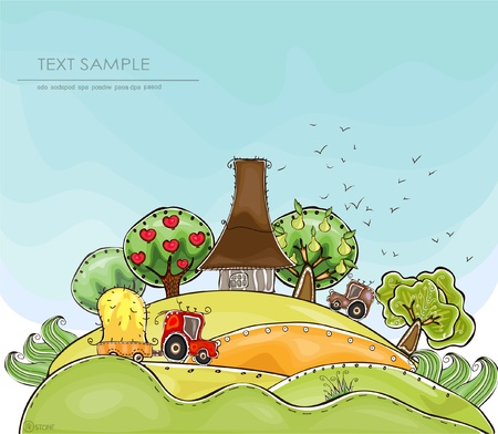 cultivation:  farm and organic fruits  Happy world  collection Illustration