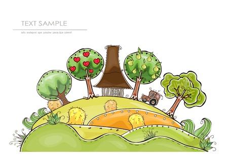 grass land: granja y recolecci�n de frutas org�nicas mundo feliz