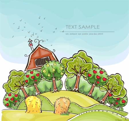 beer garden:  farm and organic fruits  Happy world  collection Illustration