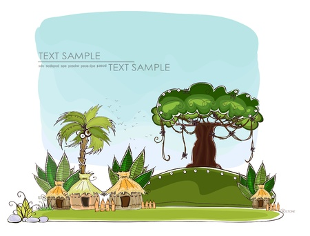 jungle village    Happy world  collection Stock Vector - 12530156