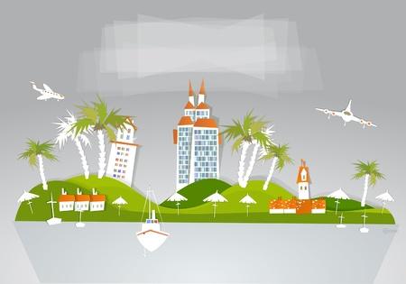 paradise hotel at tropical island  Vector