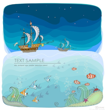 sea life background  Happy world  collection Vector