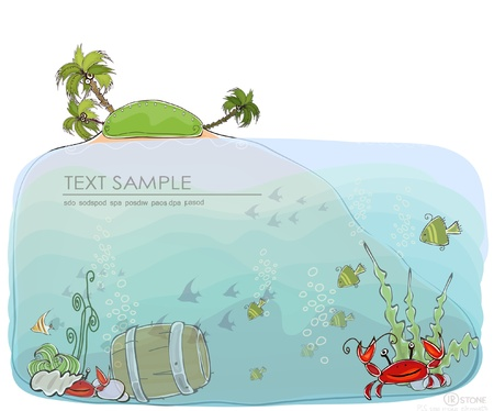 paradise island and under water life sea life background  Happy world  collection Vector