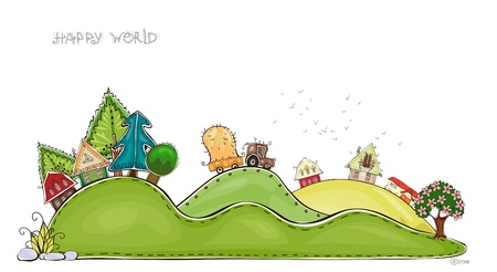 world village: country side background  Illustration