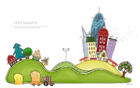 urban jungle: city and village  Happy world   Illustration