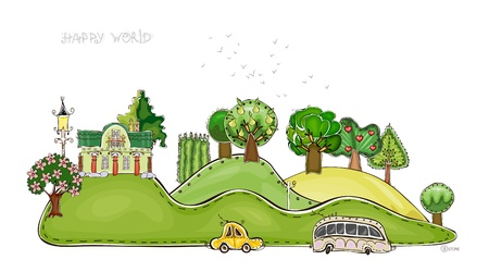 park background  Happy world   Vector