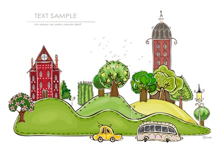 megalopolis: city and park background  Happy world   Illustration