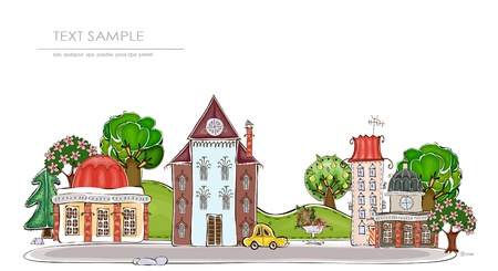 outside the house: city and park background  Happy world   Illustration