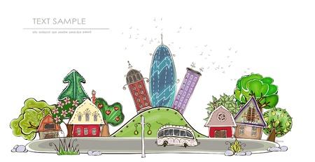 stad en park achtergrond gelukkige wereld Stock Illustratie