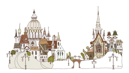 old city on the hills  Vector