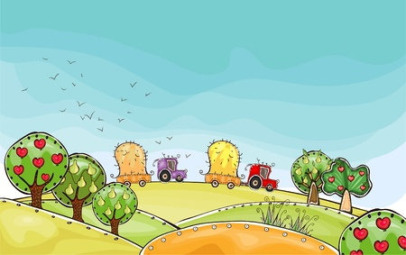 world agricultural: harvest time  Happy world  collection Illustration