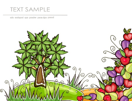 organic garden background 'Happy world' collection  Vector