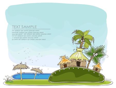"""방갈로: 럭셔리 휴일 배경 """"행복한 세상""""컬렉션"""