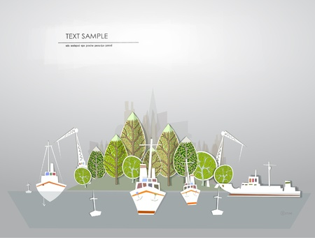 building trade: paradise island White city collection Illustration