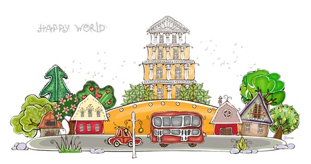 country road: city street Happy world collection Illustration