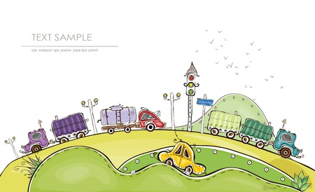 road design: country side roads Illustration