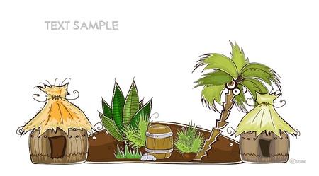beach hut: tropical village background Happy world collection  Illustration