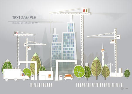 office environment: building site New flats White city collection Illustration