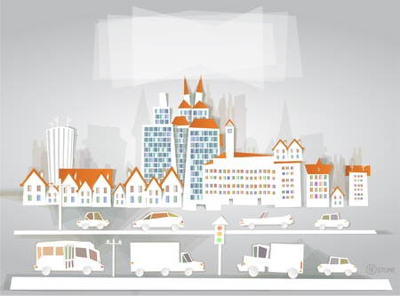 Modern city White city collection  Vector
