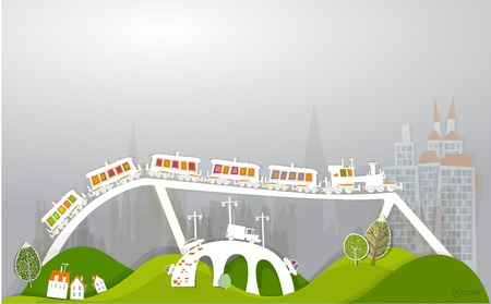 traine on the bridge White city collection  Vector